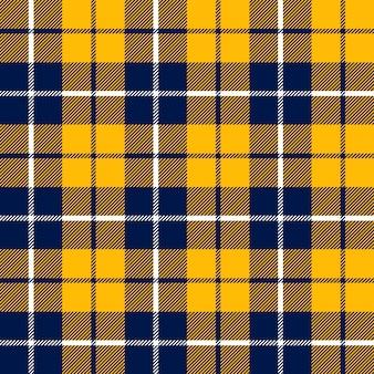 Textura de tecido laranja e azul tartan em um padrão de quadrados sem costura