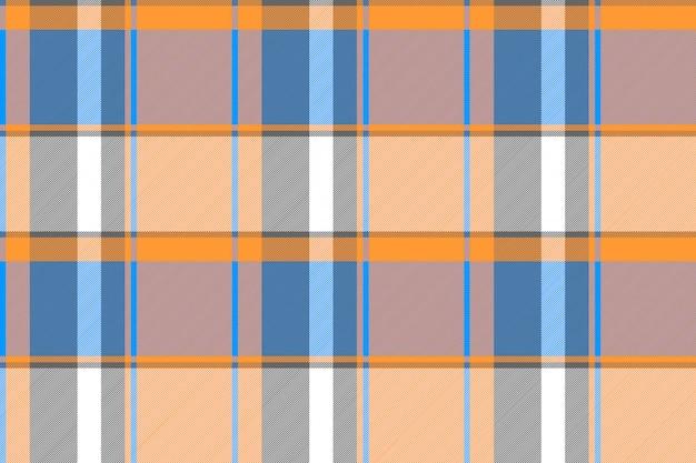 Textura de tecido sem costura xadrez azul moderno laranja
