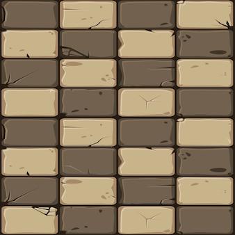 Textura de telhas de pedra marrons, parede de pedra do fundo sem emenda.