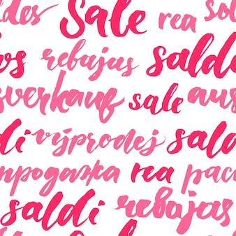 Textura de venda rosa com texto manuscrito em diferentes idiomas. padrão sem emenda para promoção e propaganda. letras de fundo de vetor para design de pacote e vitrine.