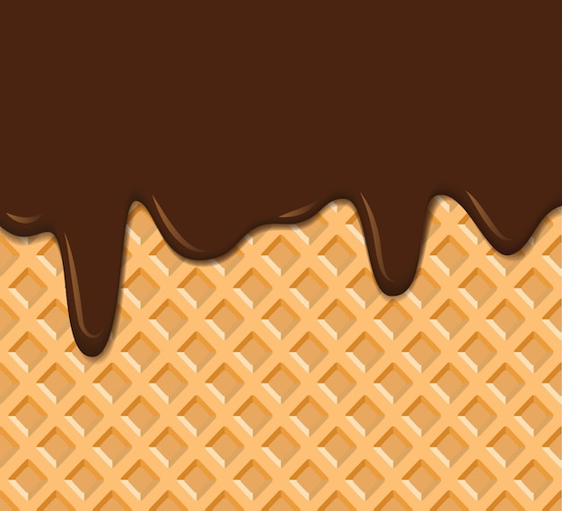 Textura de waffle com fundo de chocolate derretido