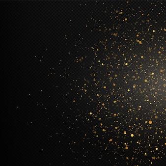 Textura dourada de confete e glitter em um fundo preto.