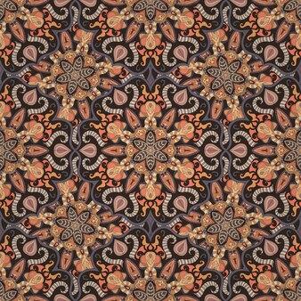 Textura floral floral ornamentada, padrão infinito com elementos de mandala vintage.