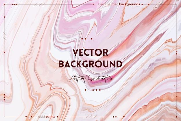 Textura fluida de arte. fundo com efeito de tinta de mistura abstrato. cores transbordantes rosa, branco e bege.