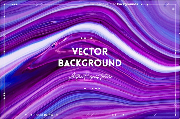 Textura fluida. fundo com efeito abstrato de tinta rodopiante. cores transbordantes de roxo, azul e branco.