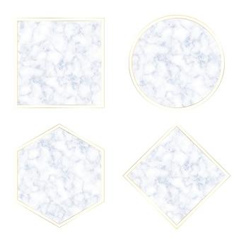 Textura geométrica de mármore de nuvem azul com coleção de banner com moldura dourada
