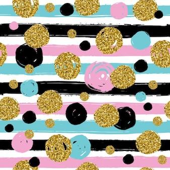 Textura glitter dourado com mão desenhar blackpinkblue círculos e linha padrão sem emenda no estilo do ouro do projeto do vetor fundo da celebração metálico