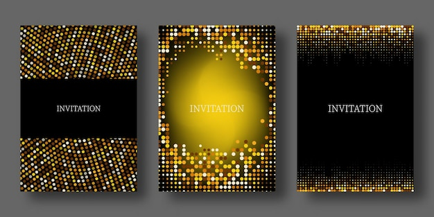 Textura glitter ouro sobre fundo preto explosão dourada de confettiset de convites