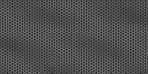 Textura metálica prateada - fundo do hexágono da grade de metal.