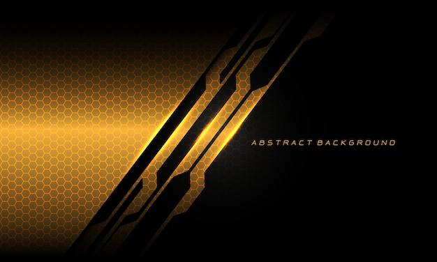 Textura padrão de malha de hexágono de linha de circuito cibernético abstrato ouro preto