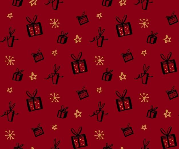 Textura perfeita de padrão de presente com ilustrações desenhadas à mão de fundo vermelho de presentes de caixas de presentes