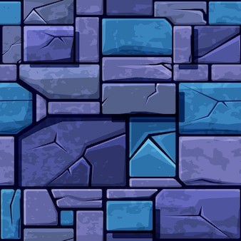 Textura perfeita de pedra azul velha, azulejos de parede de pedra de fundo. ilustração vetorial para interface de usuário do elemento do jogo