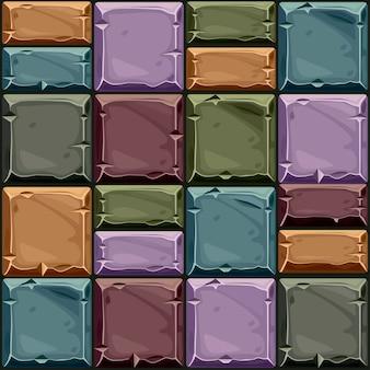 Textura perfeita de pedra quadrada colorida, azulejos de parede de pedra de fundo. ilustração vetorial para interface de usuário do elemento do jogo