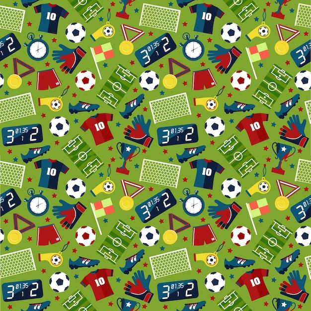 Textura plana sem costura padrão esporte futebol sobre fundo verde.