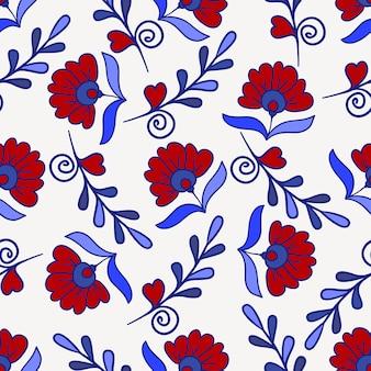 Textura sem costura com flor moderna vermelha e azul. vector padrão floral infinito