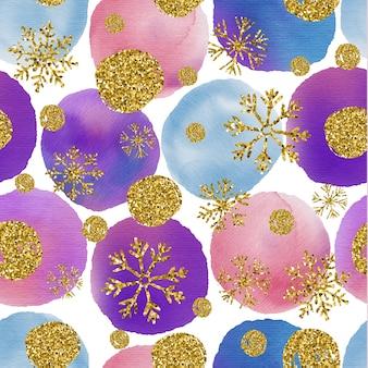 Textura sem costura de aquarela de círculos isolados brilhantes com brilhos e flocos de neve.
