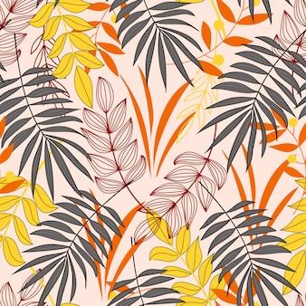 Textura vector sem emenda. padrão tropical com plantas coloridas