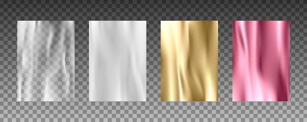 Texturas 3d realistas de folha de ouro, textura de seda, papel branco, filme plástico transparente.