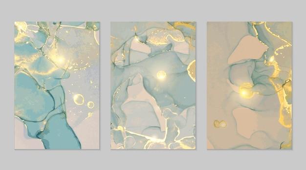 Texturas abstratas de mármore cinza azul e dourado
