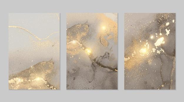 Texturas abstratas de mármore cinza e dourado