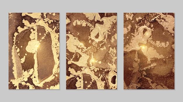 Texturas abstratas de mármore e chocolate dourado