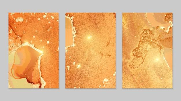 Texturas abstratas de mármore laranja e dourado