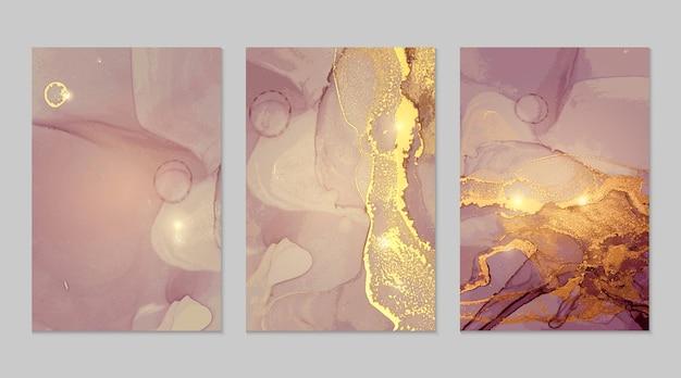 Texturas abstratas de mármore roxo e dourado