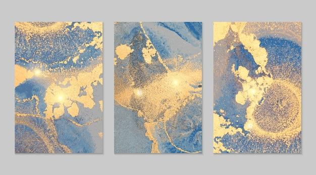 Texturas abstratas em mármore azul marinho e dourado