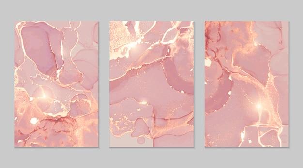 Texturas abstratas em mármore rosa claro e dourado