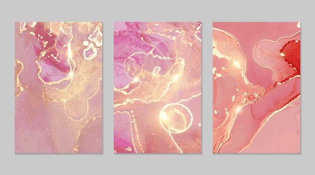 Texturas abstratas em mármore rosa e dourado
