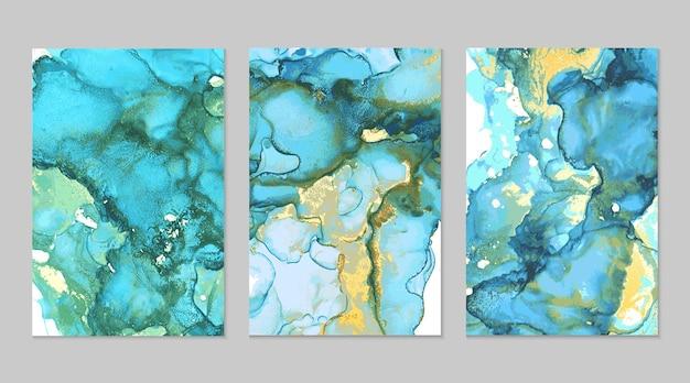 Texturas abstratas em mármore turquesa e dourado