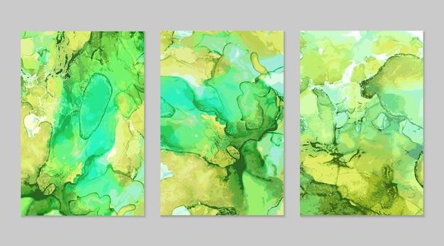 Texturas abstratas em mármore verde e dourado