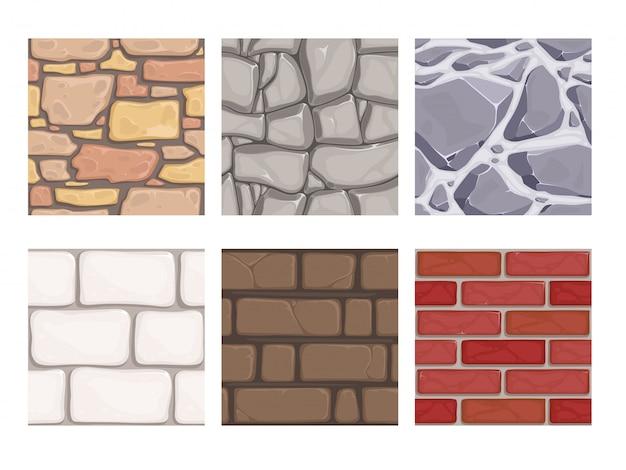 Texturas de jogo de parede. papel de parede de pedras de terra de rocha sem costura