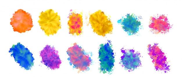 Texturas de mancha de aquarela definidas em várias cores