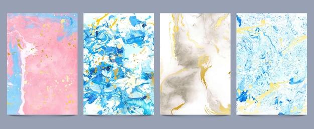 Texturas de mármore em aquarela. tinta líquida abstrata e impressões de tinta com respingos de ouro. padrão de geodo de pedra de luxo, conjunto de papel de parede pastel fluido. padrão de mármore abstrato, papel de parede aquarela com tinta de luxo