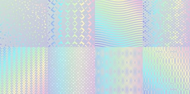 Texturas holográficas. confete de folha de brilho e gradiente de arco-íris de metal, design retro rosa e azul