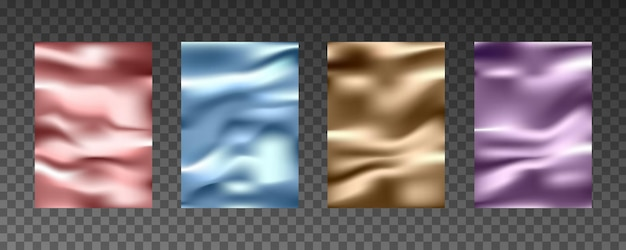Texturas realistas 3d de folha de ouro, textura de seda, papel, filme plástico.