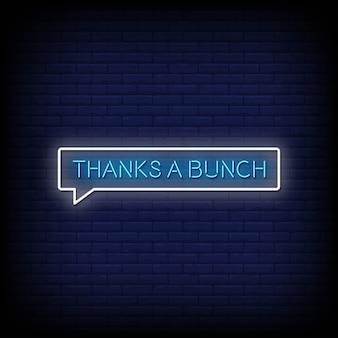 Thanks a bunch texto de estilo de letreiros de néon