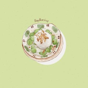 Thapthim krop é uma das sobremesas tailandesas mais conhecidas em estilo aquarela