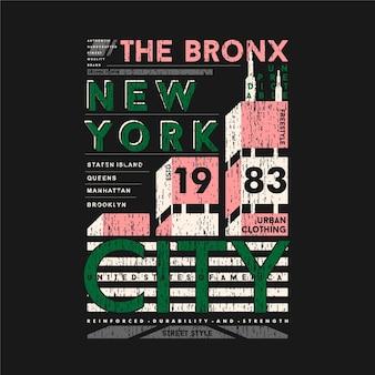 The bronx new york city texto gráfico t shirt design tipografia ilustração