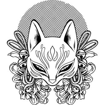 The kitsune japan culture silhouette