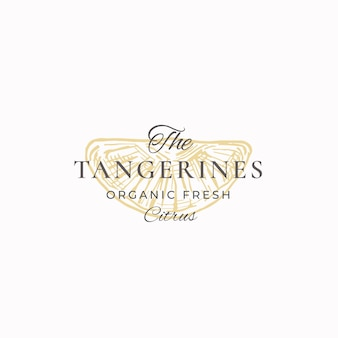 The tangerines organic fresh citrus sign abstract, symbol or logo