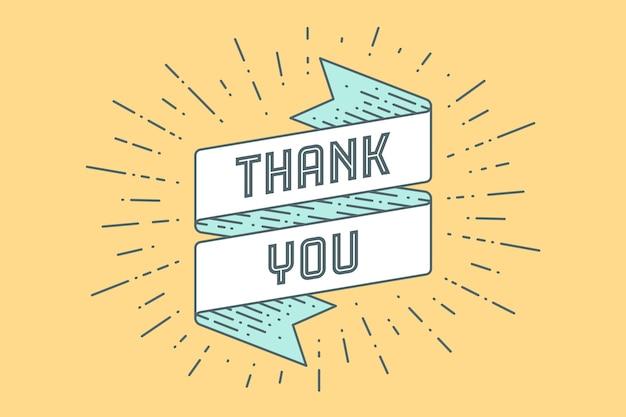 Thenk you. banner de fita vintage e desenho em gravura de estilo com texto, obrigado. desenhado à mão para o dia de ação de graças. tipografia para cartão, banner e cartaz.