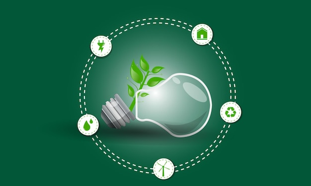 Think green eco energy flat icons mudança climática design renovável