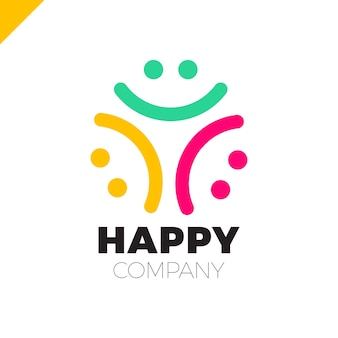 Three smile people logo - ícone da comunidade feliz
