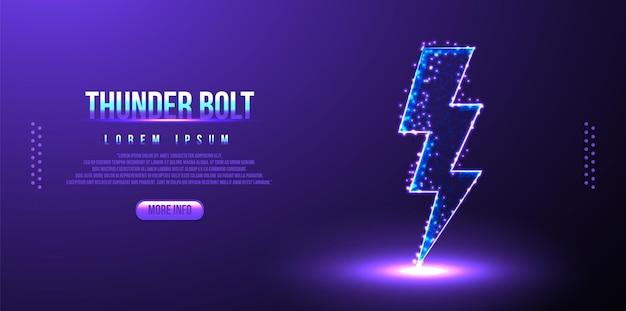 Thunder, bolt, thunderstorm low poly wireframe, design poligonal
