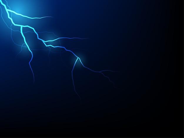 Thunderbolt realístico dos relâmpagos do vetor azul da tempestade do trovão no fundo preto.
