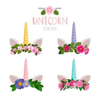 Tiaras de unicórnio com flores coloridas da coleção