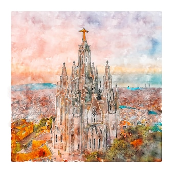 Tibidabo barcelona esboço em aquarela mão desenhada ilustração