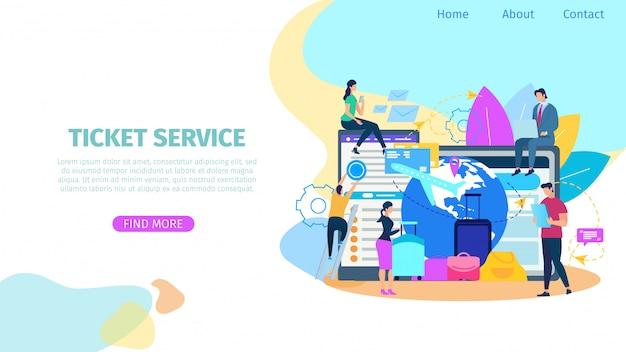 Ticket booking service bandeira de web vector plana